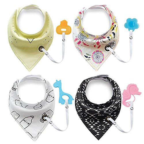 g Bibs,Baby Bandana Bibs Set for Teething and Drooling,Baby Shower Registry Gifts for Boys & Girls - 100% Organic Cotton. ( 4-Pack Bibs with 4 Teether Toys) ()