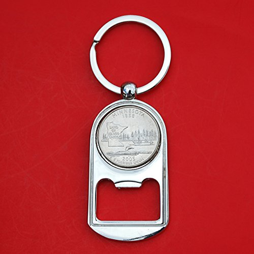 US 2005 Minnesota State Quarter BU Uncirculated Coin Silver Tone Key Chain Ring Bottle Opener NEW Review
