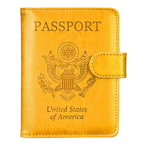 Passport Holder Travel Cover Case - HOTCOOL Leather RFID Blocking Wallet For Passport, Yellow (Magnetic)