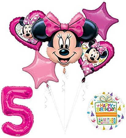 NEW Minnie Mouse 5th Birthday Party Supplies Balloon Bouquet Decorations