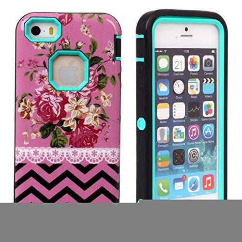 iPhone 5/5s Fall Lantier Romantic Rose Mit Wellen Hard Case & 3 in 1 Hybrid-Rüstungs-Kasten High Impact Gebundenes Silicon Case Blumen Stil Abdeckung für iPhone 5/5s Mint Green