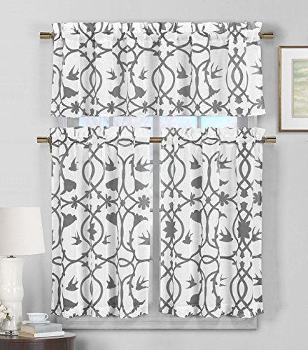3 Piece Semi Sheer Window Curtain Set: Botanical Design, 2 Tiers, 1 Valance (Gray and White)