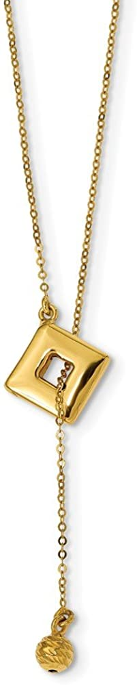 Leslies Real 14kt Yellow Gold Polished Y-Drop Necklace; 18 inch