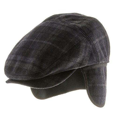Tusco Wool Grey Plaid Ivy Cap Newsboy Hat with Fleece Ear Flaps NAVY 7 (Lined Plaid Ivy Cap)