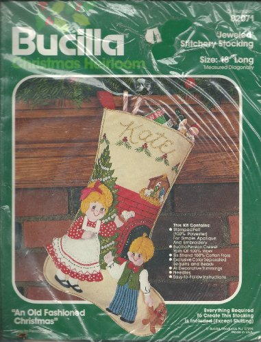 "Bucilla 82071 Christmas heirloom Jeweled Stitchery Stocking 18"" Long"