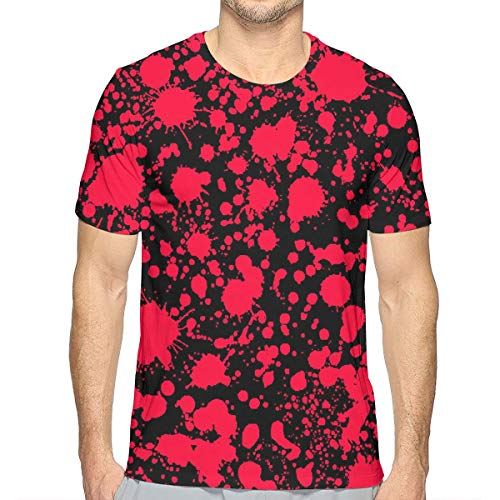 FANTASY SPACE Hippie Short Sleeve T-Shirts for Men Boys Teens Adult, Classic Horror Blood Splatter Black Summer Athletic Beefy T-Shirt, Beach Riding Golf Quick Dry Sportswear, oisture Wicking]()