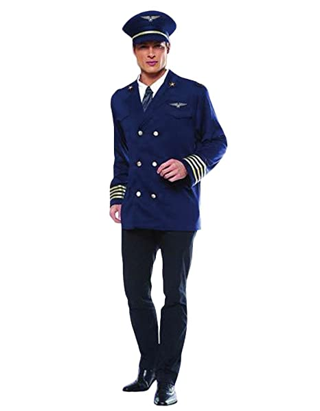 Rubber Johnnies Airline Pilot Costume, Captain, Flight Attendant, Dress up, Size L
