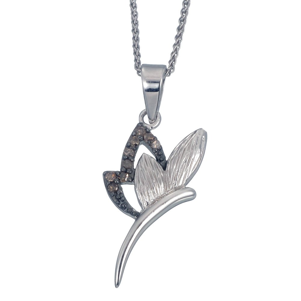 Sterling Silver Champagne Diamond Pendant (1/8 CT) With 18 Inch Chain