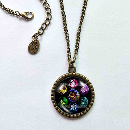 Handmade Cute Gift Anime Charm Fashion Jewelry Eevee Evolution Necklace Pendant Vaporeon Espeon Umbreon Jolteon Flareon Leafeon Sylveon Glaceon Cosplay