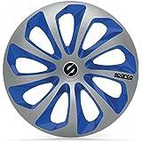 """SPARCO SPC1573SVBL Sicilia 4 Stück Radzierblenden, Silber/Blau, 4 Stück, 15"""""""