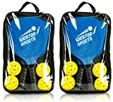Pickleball Paddle Bundle | Set Includes Two Wood Paddles, Four Outdoor/Indoor Balls, One Premium Carry Bag | Extra Wide Body w/Ultra Cushioned Grip | Meets USAPA Specs | Includes PDF w/Rules and Tips