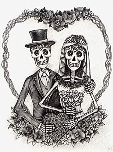 EW Designs Pencil Sketch Dia De Los Muertos Bride and Groom Couple with Flowers Vinyl Decal Bumper Sticker (4