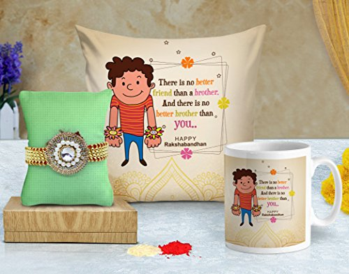 TIED RIBBONS Rakhi Gifts for Brother (Designer Rakhi, Printed Cushion with Filler and Coffee Mug)