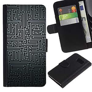 Be Good Phone Accessory // Caso del tirón Billetera de Cuero Titular de la tarjeta Carcasa Funda de Protección para Samsung Galaxy S6 SM-G920 // Maze Black White Puzzle Mystery Pattern Lines