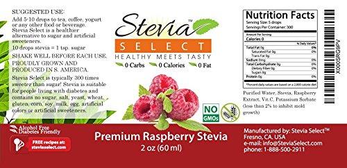 Stevia Drops-Raspberry Stevia Flavor 2 oz Stevia Liquid-Best Liquid Stevia Flavor Drops-GUARANTEED by Stevia Select (Image #1)