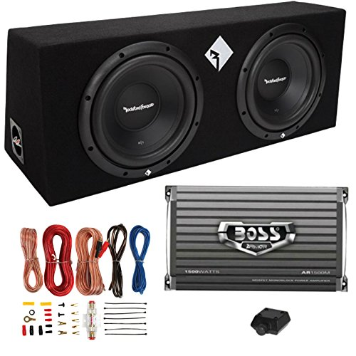 "Rockford Fosgate R1-2X10 10"" 800W Loaded Subwoofer Sub Enclosure+Amp+Amp Kit"
