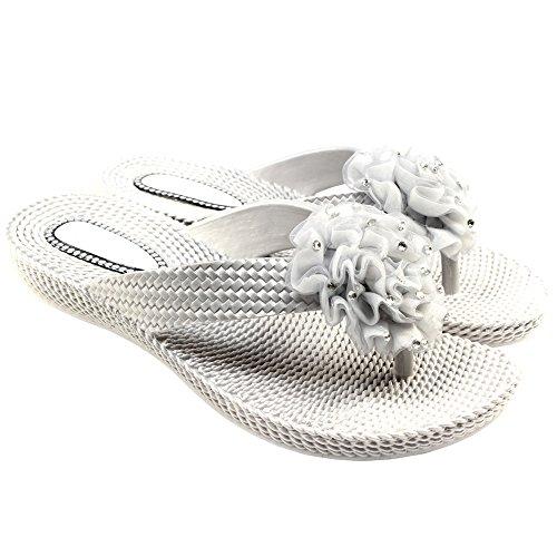 SoYouShoes - Chanclas de material sintético para mujer Plata - plata