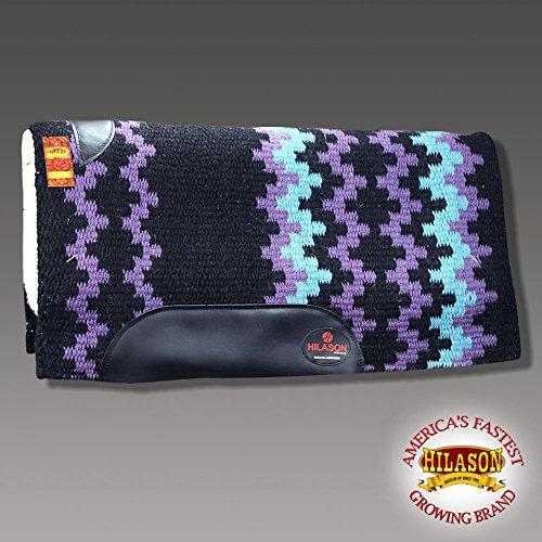 HILASON Made in USA Black Lavender Western Wool Felt Saddle Blanket PAD