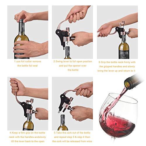Kwanan New Ver. Wine Opener, Rabbit Wine Bottle Opener Metal Lever Bottle Opener Corkscrew Set with Foil Cutter, Corkscrew –Ideal Gift for Anniversary, Birthday, Christmas, Wedding, Business (Golden) by Kwanan (Image #3)