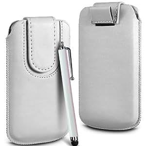 Online-Gadgets UK - Prima cuero de la PU del caso del tirón de la bolsa Con Tire Tab cierre magnético y alta sensibilidad Stylus Pen Para Huawei Ascend G7 - Blanco