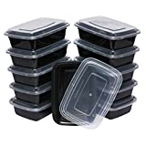 Table To Go 20-Pack Bento Lunch Boxes with Lids, 1 Compartment/ 34 oz, Black