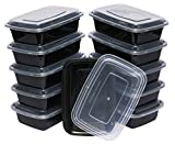 Table To Go 240-Pack Bento Lunch Boxes with Lids (1 Compartment/ 34 oz) | Microwaveable, Dishwasher & Freezer Safe Meal Prep Containers | Reusable Dish Set for Prepping, Portion Control & More (Black)