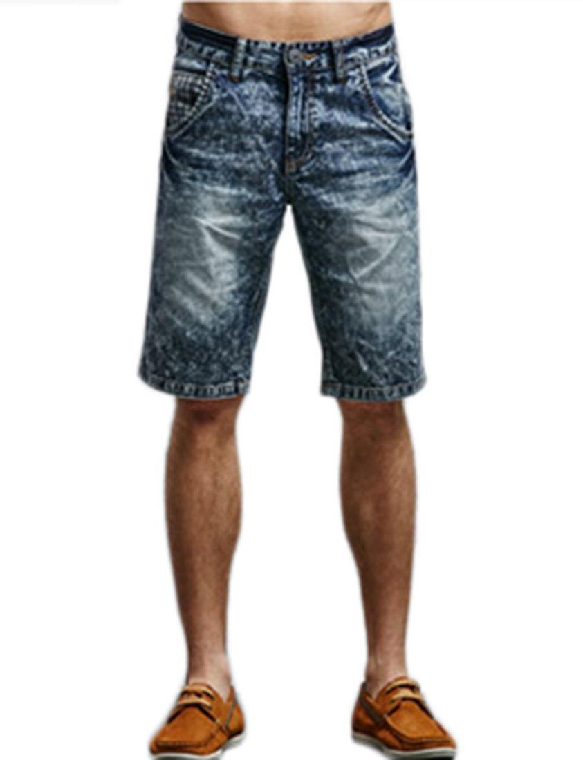 Liveinu Men's Acid Washed Denim Shorts Slim Fit Deep Blue XXL