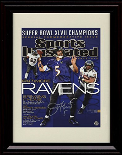 (Framed Joe Flacco/Ray Lewis Sports Illustrated Autograph Print - 2012 Champs!)