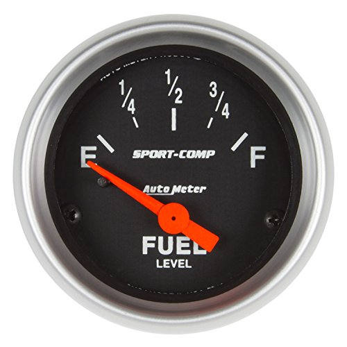 Autometer Sport Comp Fuel Level - AutoMeter 3319 Sport-Comp Electric Fuel Level Gauge; 2-1/16 in.; Black Dial Face; Fluorescent Red Pointer; White Incandescent Lighting; Electric Air-Core; 73 Ohms Empty /10 Ohms Full [LINEAR];