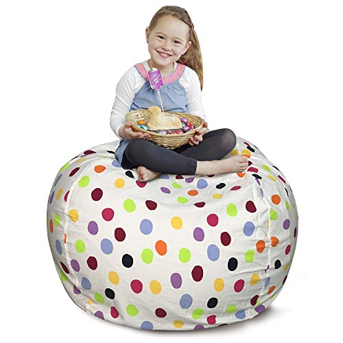 (CALA Storage Bean Bag Chair - Ultimate Toy Organizer for Kids - Perfect Storage Solution for Plush Toys, Blankets, Towels & Clothes(Colours Polka Dot )
