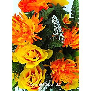 Fall Cemetery Headstone Flowers with Peonies, Mums, Yellow Roses, and Ferns with Mixed Greenery 4
