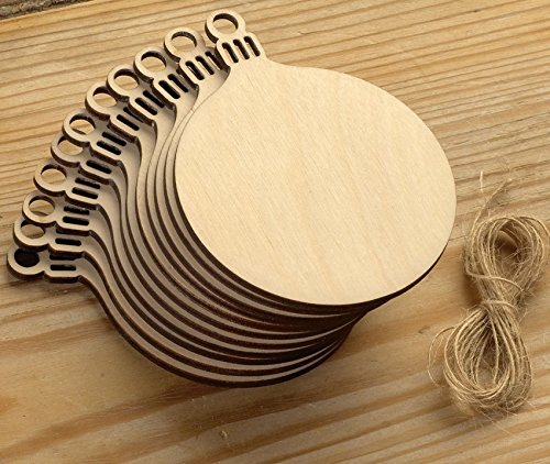 10pcs Wooden Round Bauble Hanging Christmas Tree Blank Decorations Gift Tag Shapes by (Blank Christmas Ornaments)
