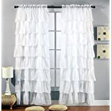 """2 Piece Set -Solid White Gypsy Ruffle Sheer - Crushed Voile Shabby Chic Window Panels / Drapes / Curtains 108"""" Wide X 84"""" long"""