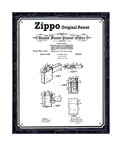 JS Original Zippo lighter patent printed on metal plate, mounted on black marble-finish wooden plaque