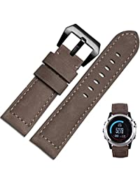 Welcomeuni FASHION 26MM Leather Watch Replacement Band Strap + Lugs Adapters For Garmin Fenix 3 / HR (CO)
