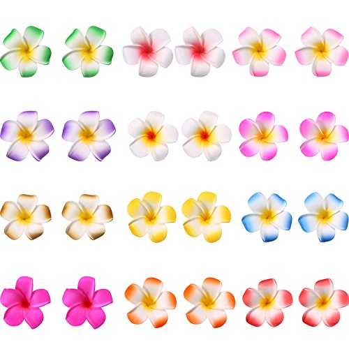 Mudder 24 Pieces Hawaiian Plumeria Flower Hair Foam Hawaii Hair Clips (2 Inch) (Hair Flower Clips)