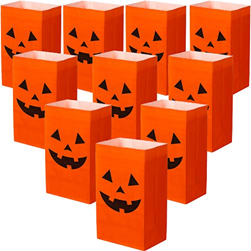 Halloween Crafts Pumpkins Paper (Tatuo 24 Pieces Halloween Candy Bags Halloween Paper Bags Pumkin Pumpkin Color Bags Lunch Flat Bottom Paper Bags for Halloween (18 x 9 x 6 cm)