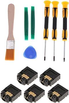 Baoblaze 5 Piezas de Puerto de 3,5 mm Conector Toma de Puerto de Control para Xbox One + 7 en 1 Juego de Reparación de Destornilladores de Precisión: Amazon.es: Electrónica