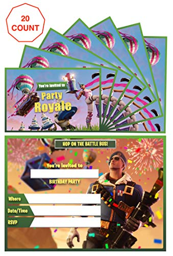 Video Game Birthday Party Invitations - Kids Birthday Invitations - 20 invitations 20 envelopes Double Sided - Birthday Invitations For Boys - Battle Royale Video Gaming Gamer Party Supplies -