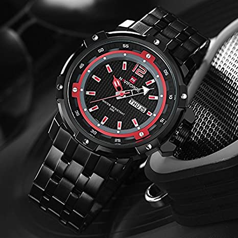 Amazon.com: NAVIFORCE Watch Men Full Steel Bracelet Quartz watch Male Army Military Wristwatch: Watches
