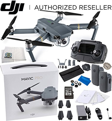 DJI Mavic Pro Collapsible Quadcopter Drone Essential Videographer Bundle Includes Remote Controller, Intelligent Flight Battery, 8330 Folding Propellers, 16GB microSD Card, Micro-USB Cable & (Filter Sized Camcorder)