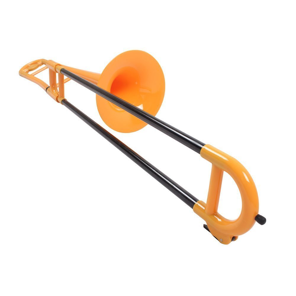 Tromba Yellow Plastic Travel Trombone PLUS Upgrade University Series Trombone Bundle w/Blue Music Stand & Light Pack