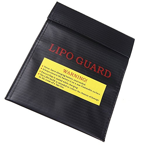 SODIAL(R) Rc Lipo Battery Safety Bag Safe Guard Charge Sack 23X18 Cm Black