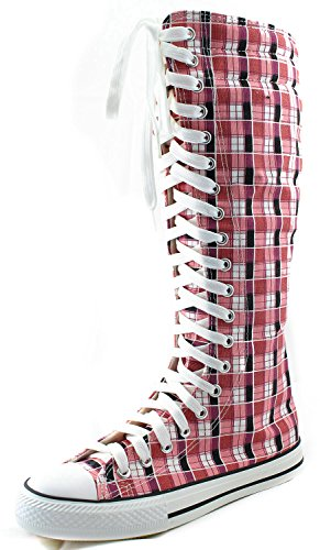 DailyShoes Women's Knee High Punk Sneaker Boots Punk-Hi Plaid, 11