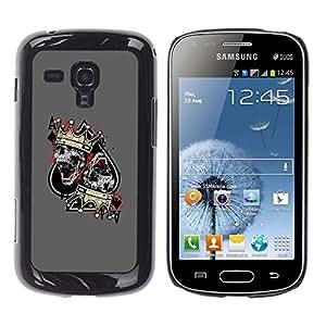 Shell-Star Arte & diseño plástico duro Fundas Cover Cubre Hard Case Cover para Samsung Galaxy S Duos / S7562 ( Ace Spades Skull Crown King Grey )