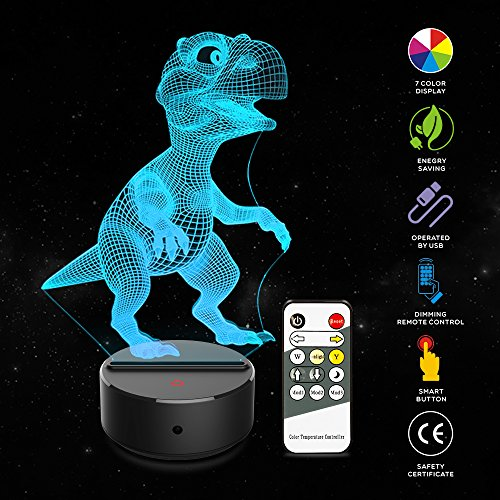 Colour Changing Light - 3D Illusion Lamp Dinosaur 3D Kids Night Light 7 Colors Changing 3D Lamp Remote Control Table Desk Lamp For Boys Kids And Adults Children Toy Gift (Dinosaur)