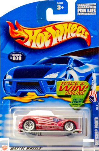 (2002 - Mattel - Hot Wheels - Star Spangled Series 1 of 4 - Chrysler Pronto (Metallic Red / American Flag Graphics) Collector #079 - Race & Win Card - New - Out of Production - Rare - Limited Edition - Collectible)