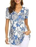 Sweetnight Women Floral Print V Neck Button Decor Peasant Summer Swing Tunic Shirts (Blue, M)