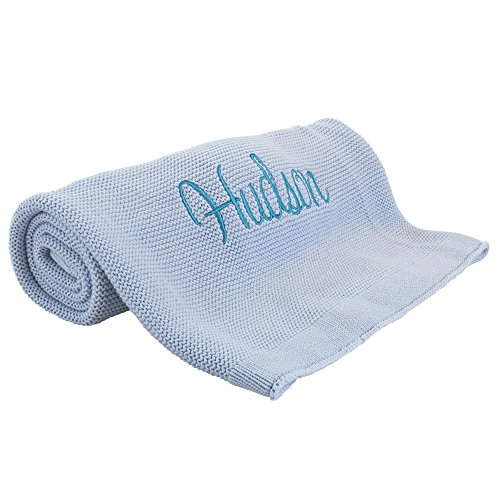 Personalized Baby Blanket for Boy Soft Cotton Knit Baby Shower ()