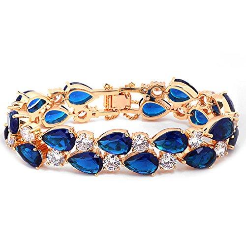 FC JORY Rose Gold Plated Pear Round Royal Blue CZ Crystal Tennis Bridal Wedding Bangle Bracelet (Pear Bracelet Tennis)